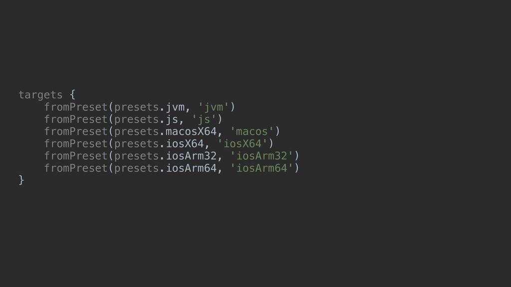 targets { fromPreset(presets.jvm, 'jvm') fromPr...