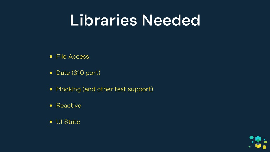 Libraries Needed • File Access • Date (310 port...