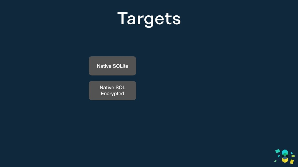 Targets Native SQLite Native SQL Encrypted