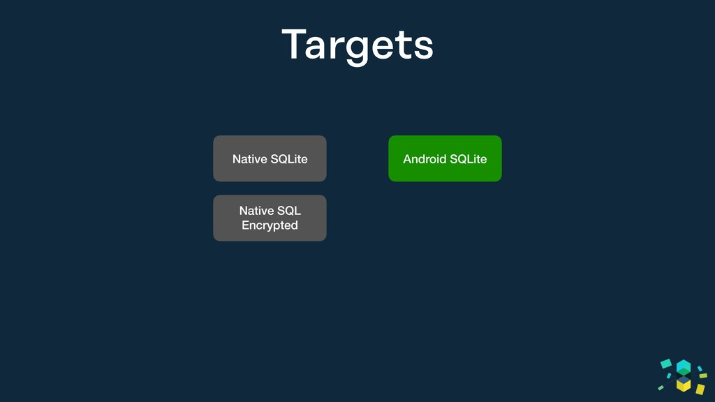 Targets Native SQLite Native SQL Encrypted Andr...