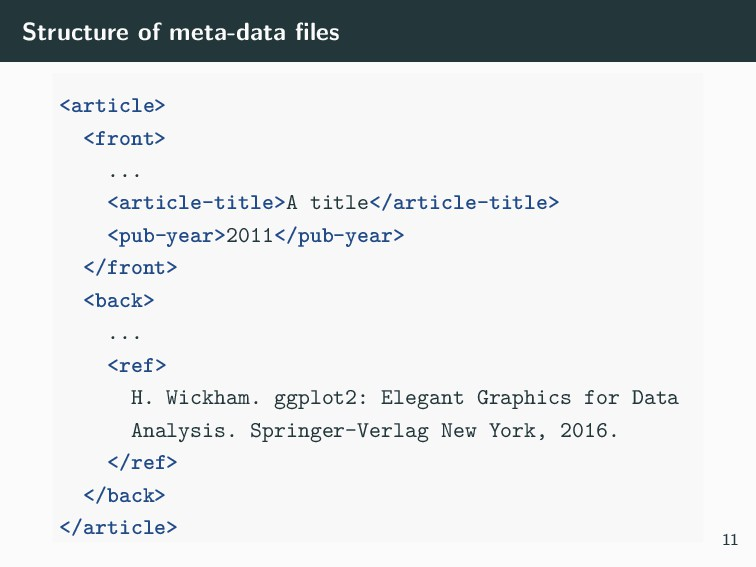 Structure of meta-data files <article> <front> ....