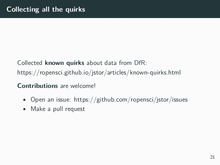Collecting all the quirks Collected known quirk...