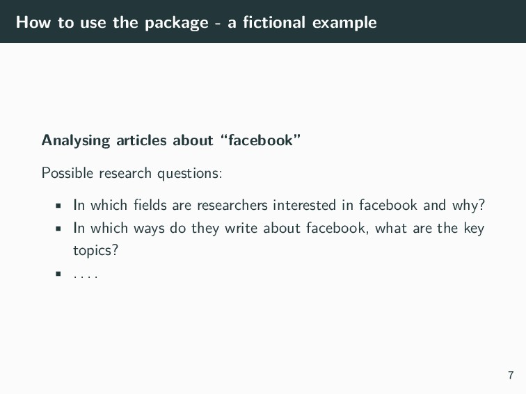 How to use the package - a fictional example Ana...