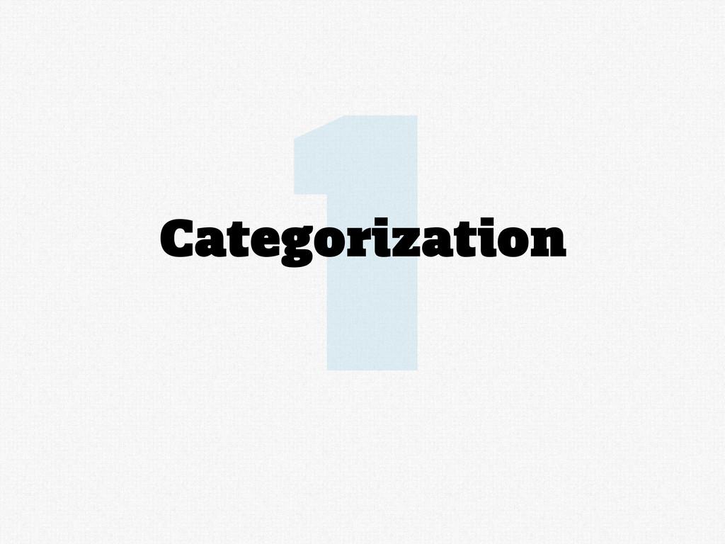 1 Categorization