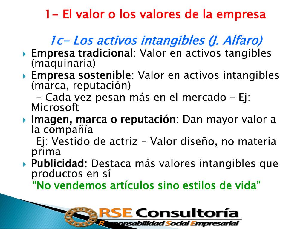 1- El valor o los valores de la empresa 1c- Los...
