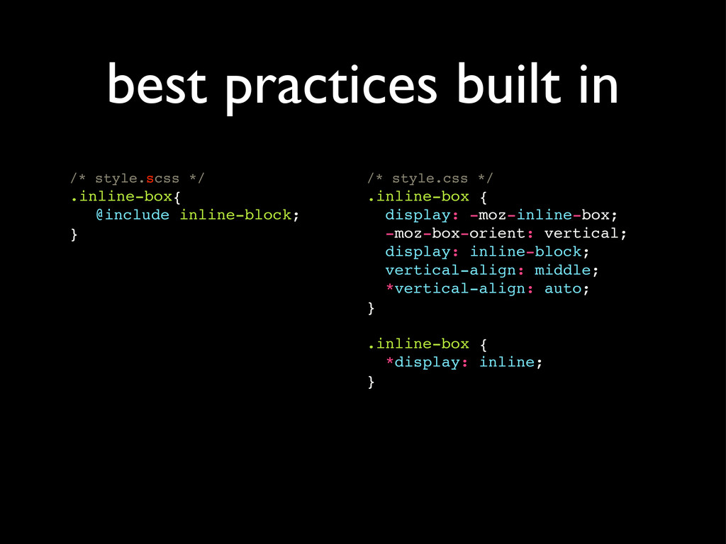 /* style.scss */ .inline-box{ ! @include inline...