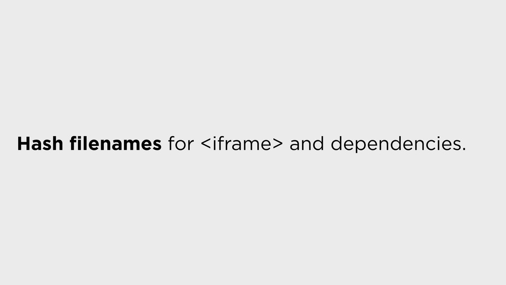 Hash filenames for <iframe> and dependencies.
