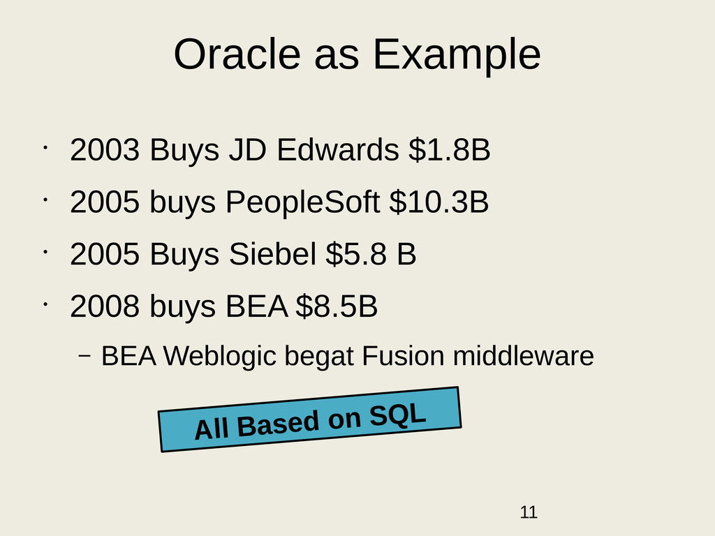Oracle as Example • 2003 Buys JD Edwards $1.8B ...