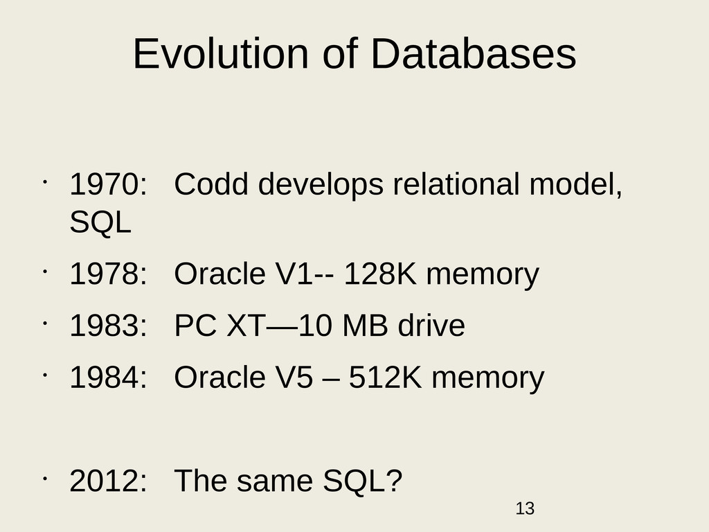 Evolution of Databases • 1970: Codd develops re...