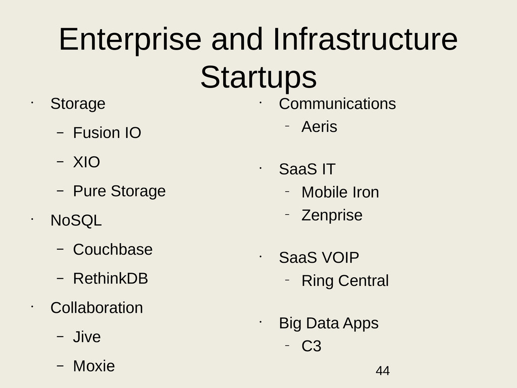 Enterprise and Infrastructure Startups • Storag...