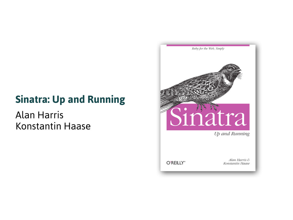 Sinatra: Up and Running Alan Harris Konstantin ...
