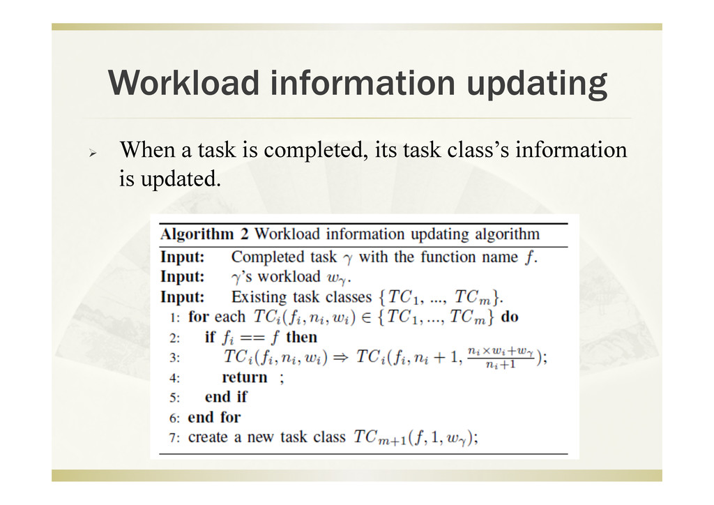 Workload information updating   When a task is...