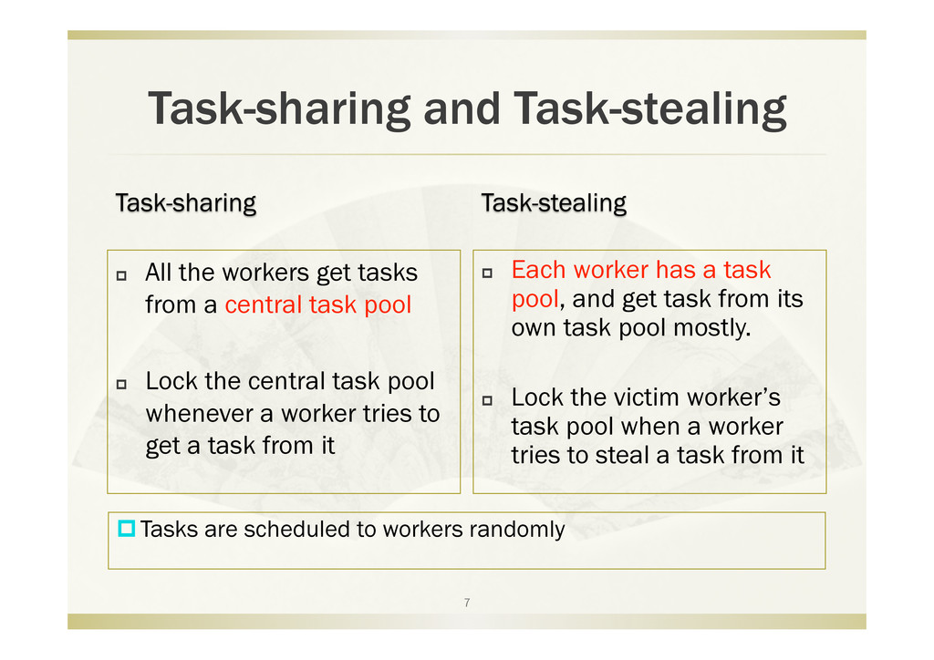 Task-sharing and Task-stealing   All the worke...