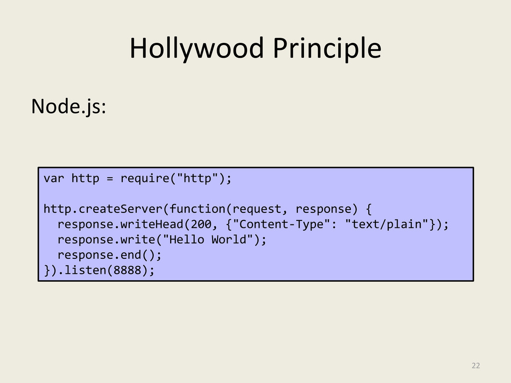 Hollywood Principle Node.js: 22 var http = requ...