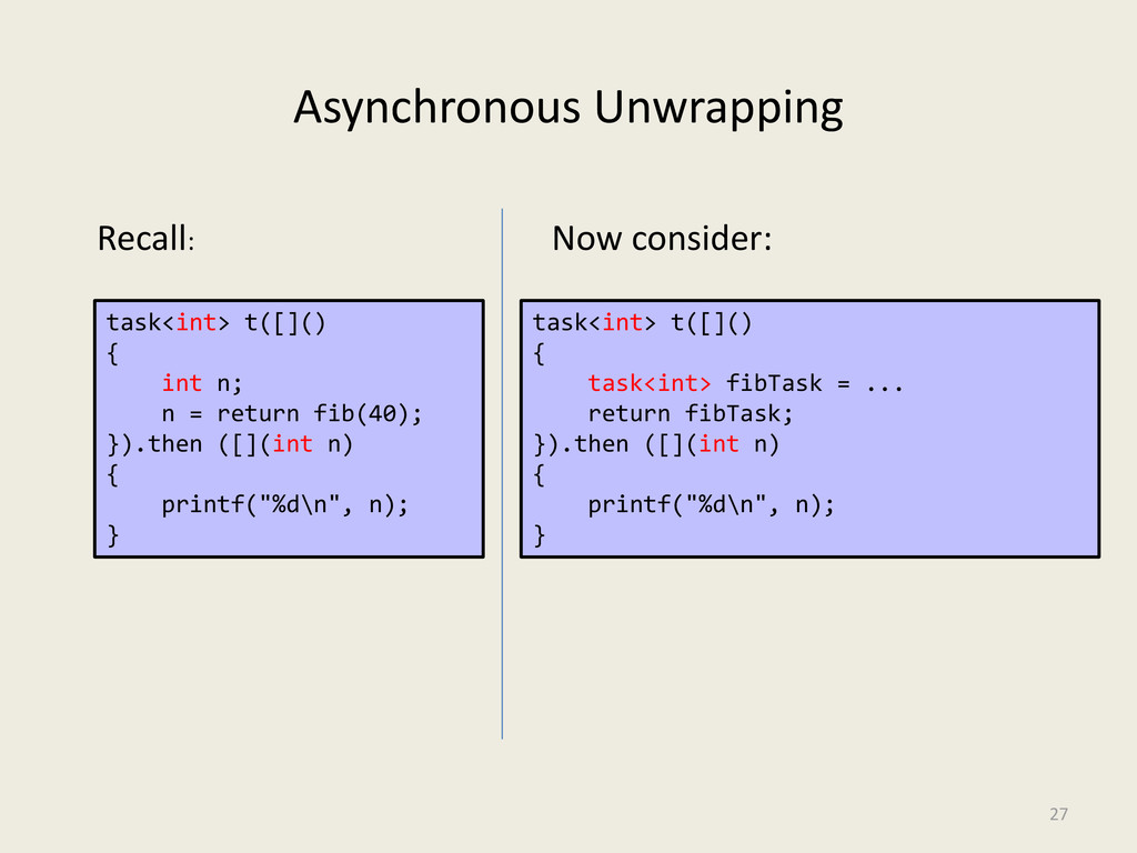 Asynchronous Unwrapping 27 task<int> t([]() { i...