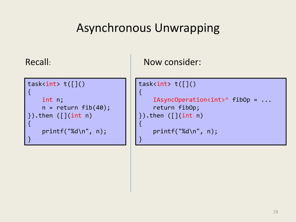 Asynchronous Unwrapping 28 task<int> t([]() { i...