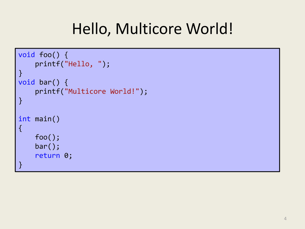 "Hello, Multicore World! 4 void foo() { printf(""..."