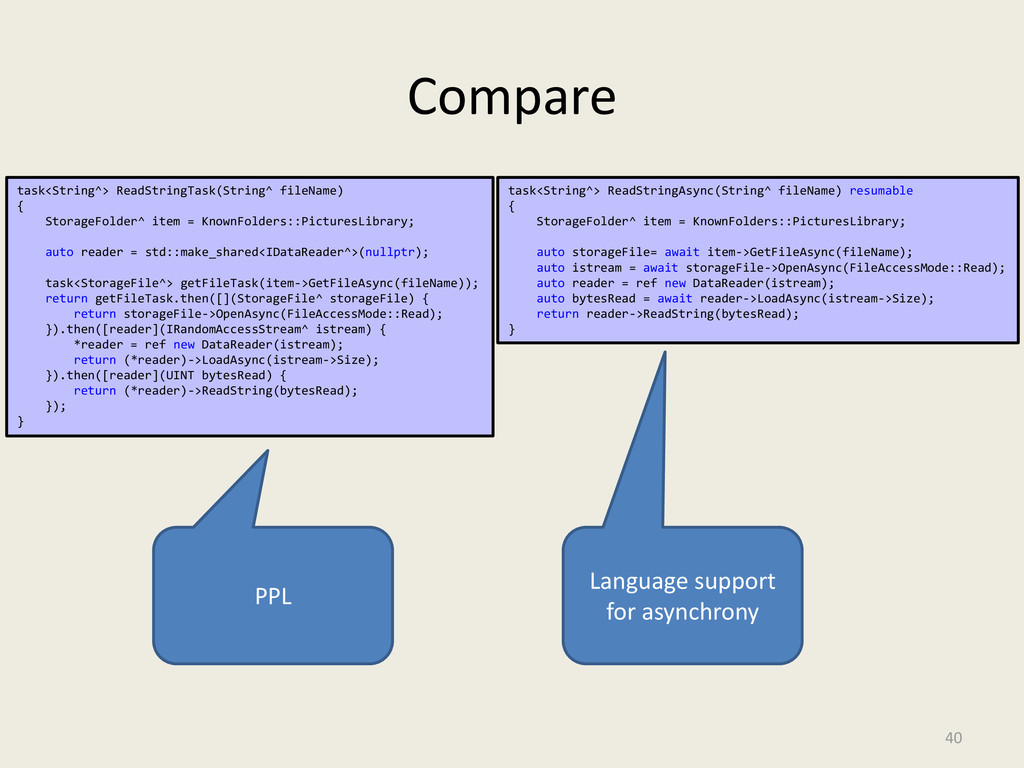 Compare 40 task<String^> ReadStringTask(String^...
