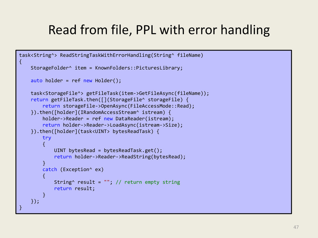 Read from file, PPL with error handling 47 Erro...