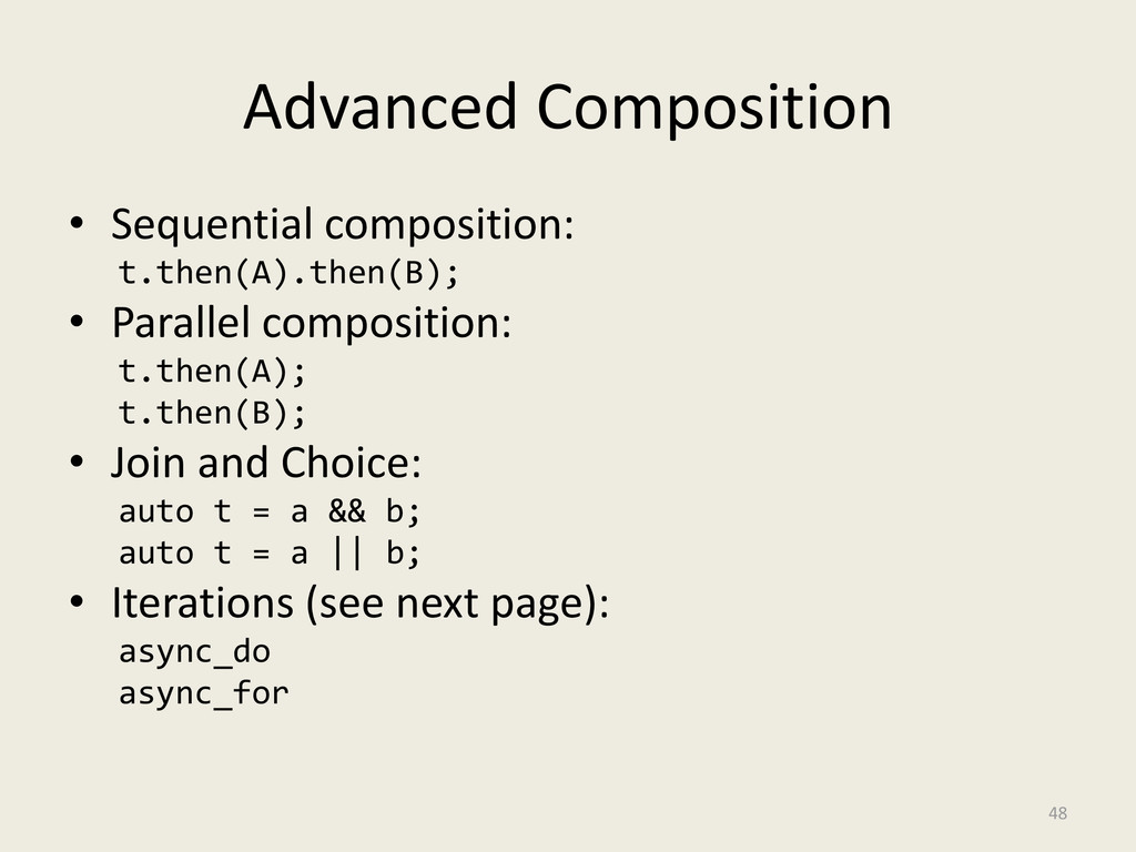 Advanced Composition • Sequential composition: ...