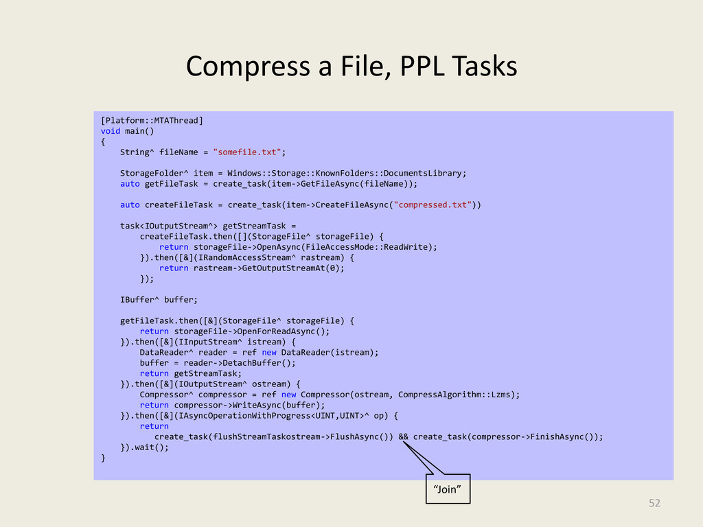 Compress a File, PPL Tasks 52 [Platform::MTAThr...
