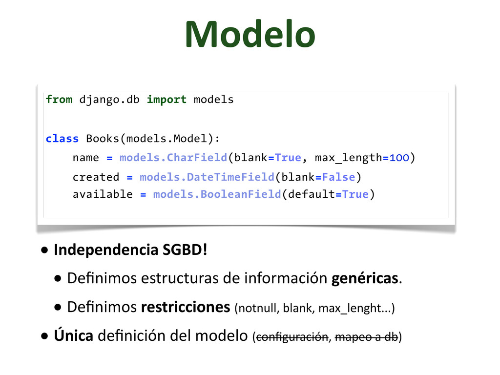 Modelo from django.db import models class Books...