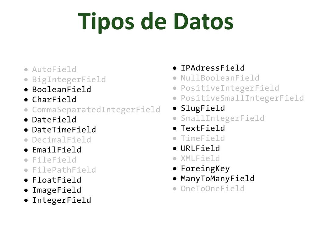 Tipos de Datos • AutoField • BigIntegerFi...