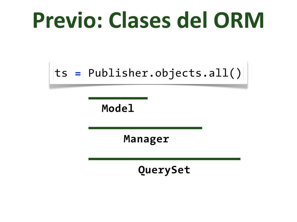 Previo: Clases del ORM ts = Publisher....