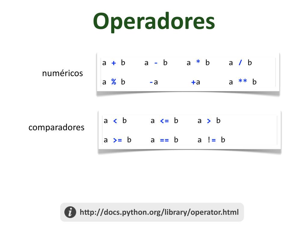 Operadores numéricos a + b a - b a * b a / b a ...