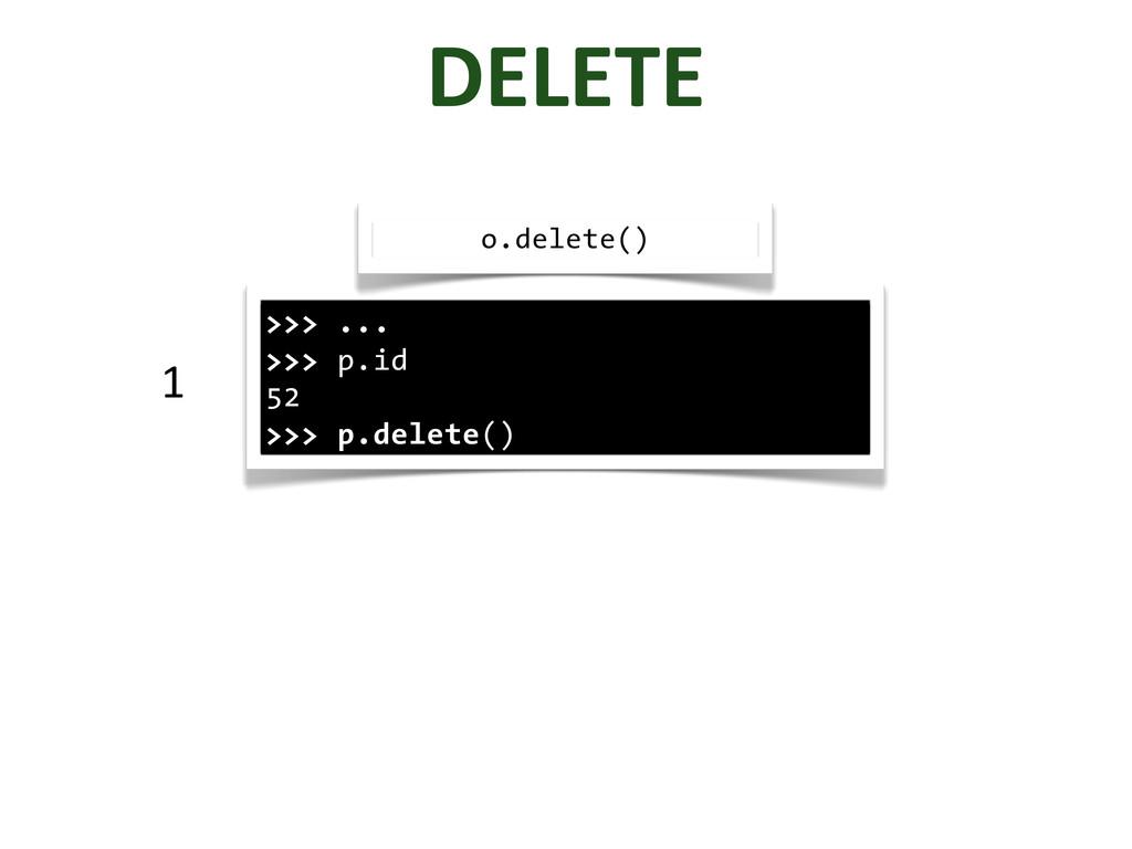DELETE >>> ... >>> p.id 52 >>> p.delete() o.del...