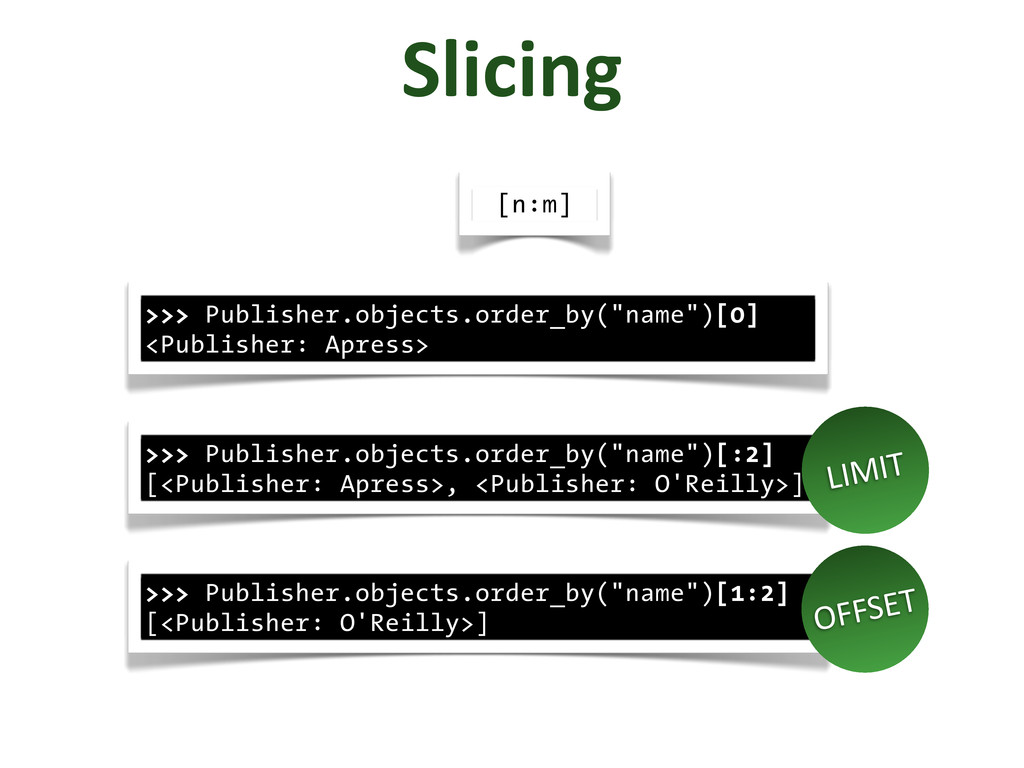 "Slicing >>> Publisher.objects.order_by(""name"")[..."