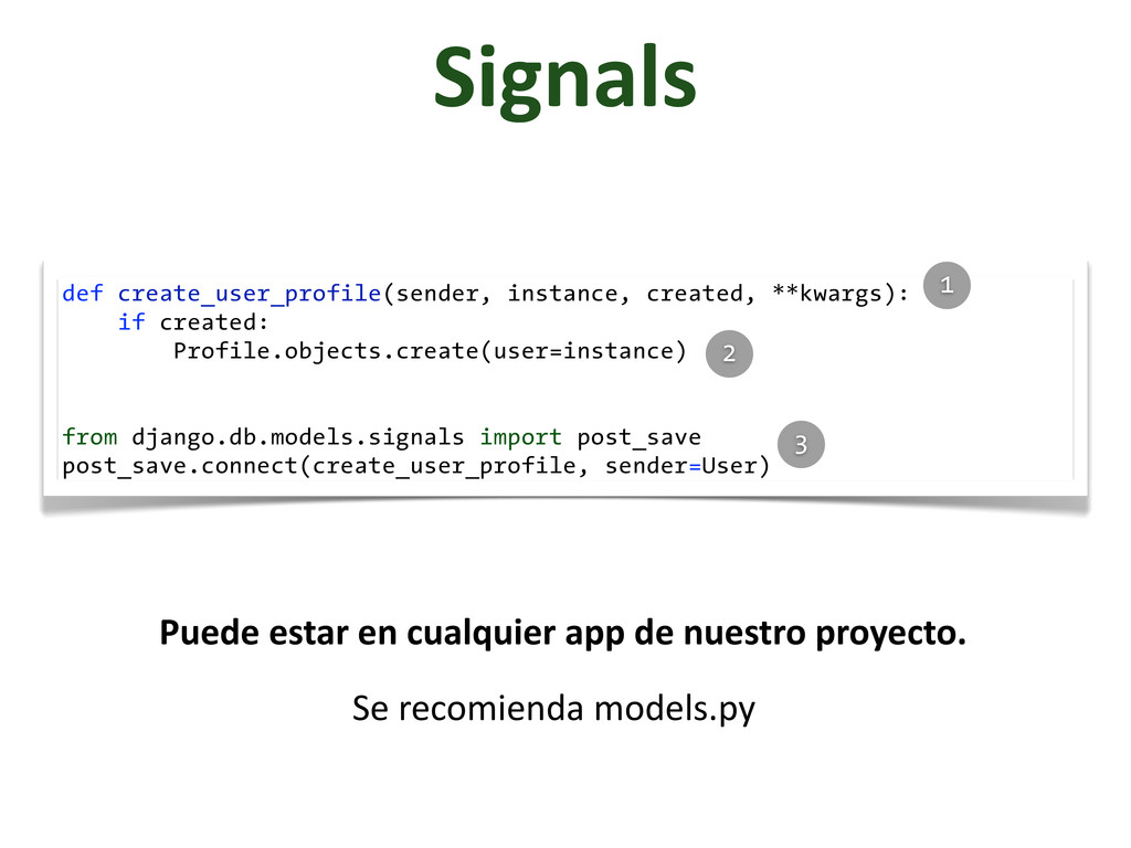 Signals def create_user_profile(sender, instanc...