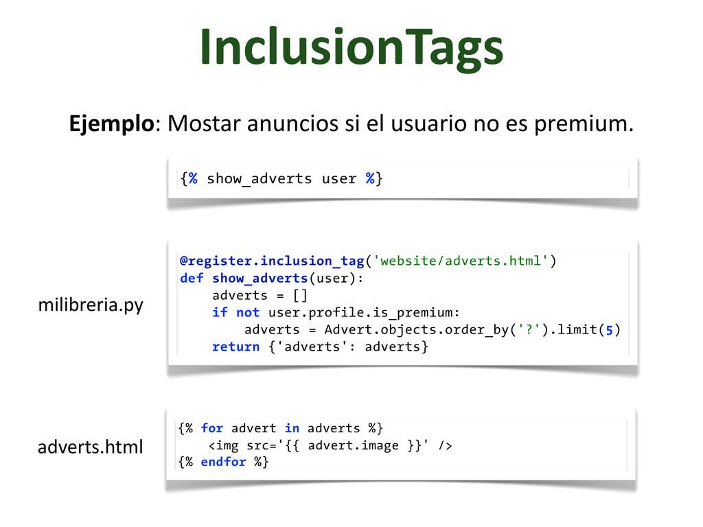 InclusionTags Ejemplo: Mostar anuncios ...