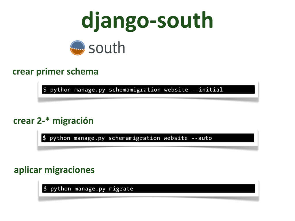 django-­‐south $ python manage.py schemamigrati...