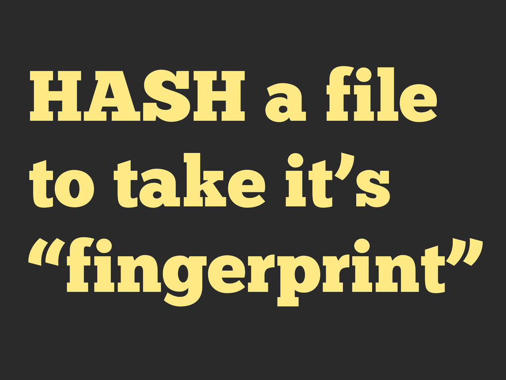 "HASH a file to take it's ""fingerprint"""
