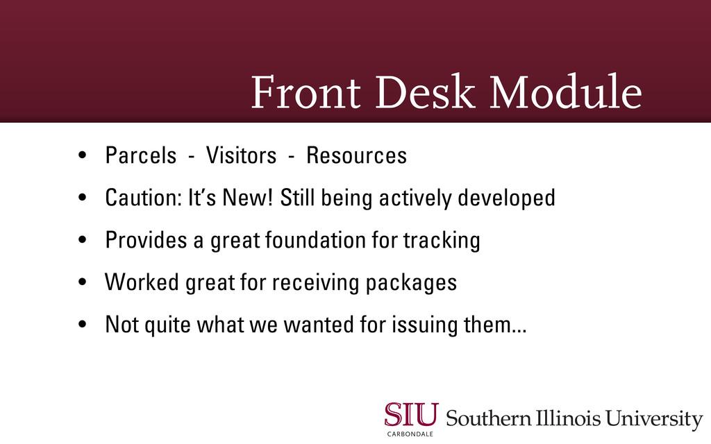 Front Desk Module • Parcels - Visitors - Resour...
