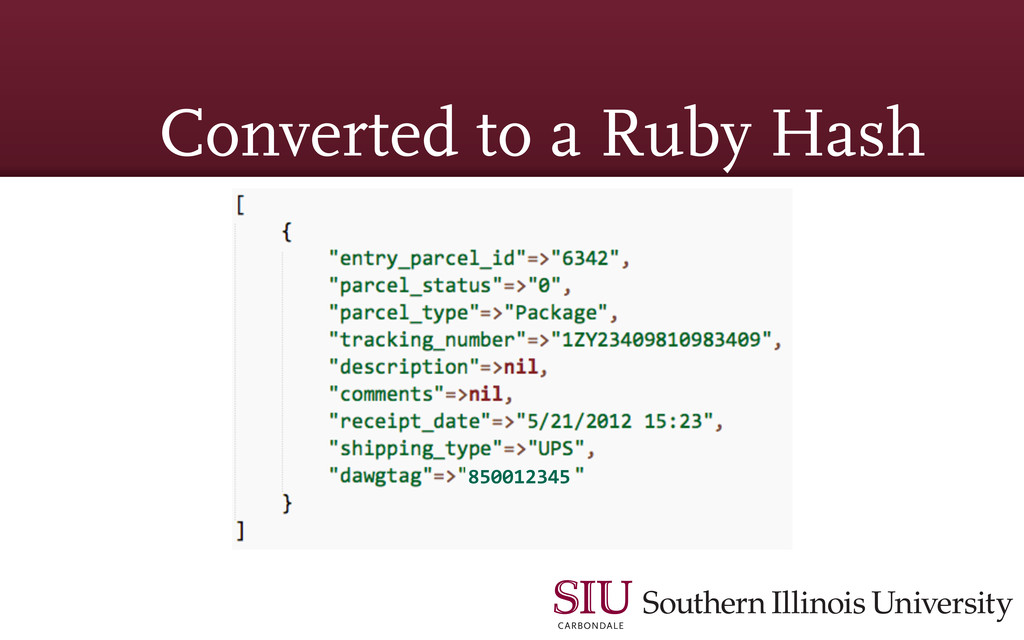 Converted to a Ruby Hash 850012345