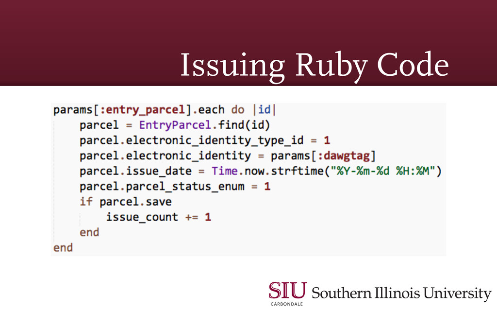 Issuing Ruby Code