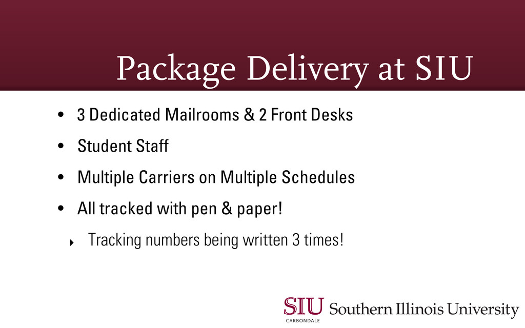 Package Delivery at SIU • 3 Dedicated Mailrooms...