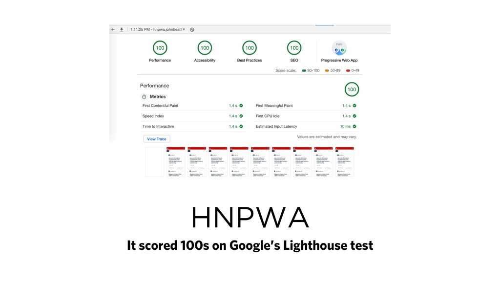 HNPWA It scored 100s on Google's Lighthouse test