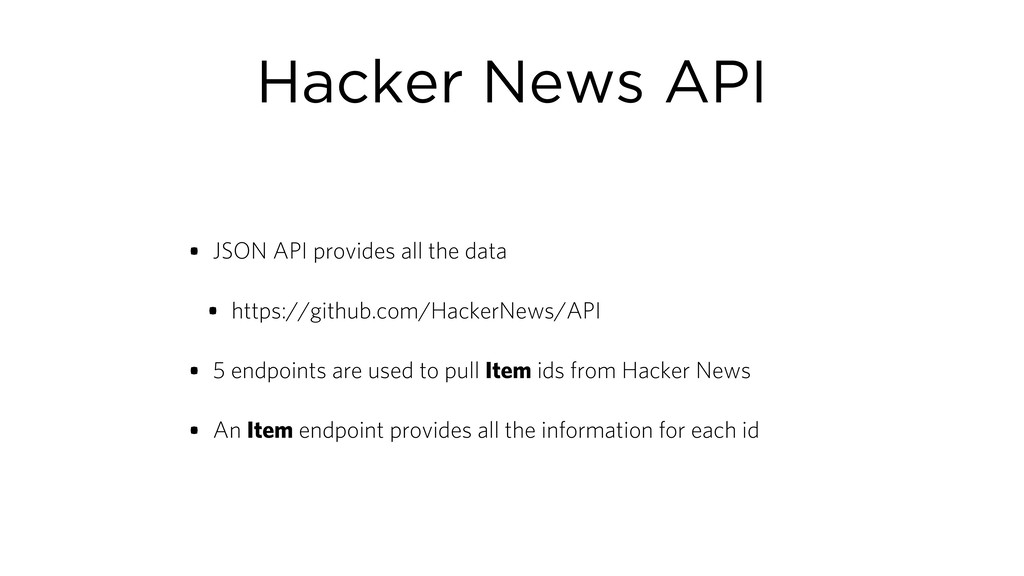 Hacker News API • JSON API provides all the dat...