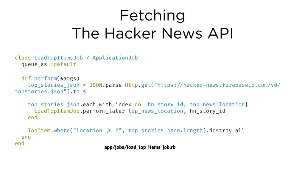 Fetching The Hacker News API class LoadTopItems...
