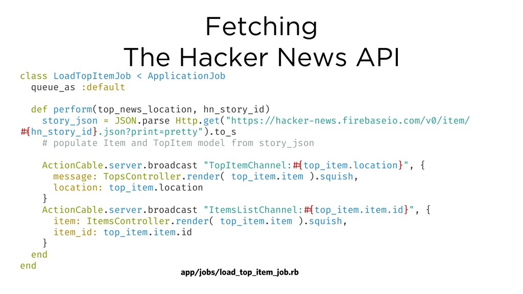 Fetching The Hacker News API class LoadTopItemJ...