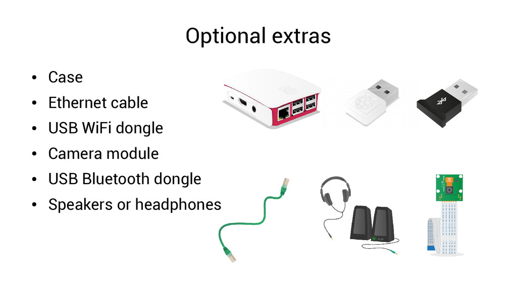 Optional extras ● Case ● Ethernet cable ● USB W...