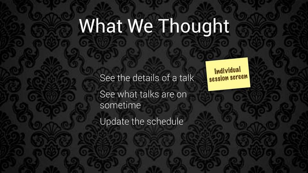 What We Thought Individual session screen See t...