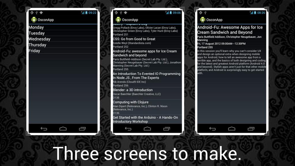 Three screens to make.