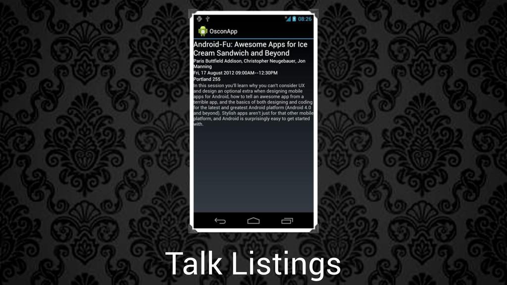 Talk Listings