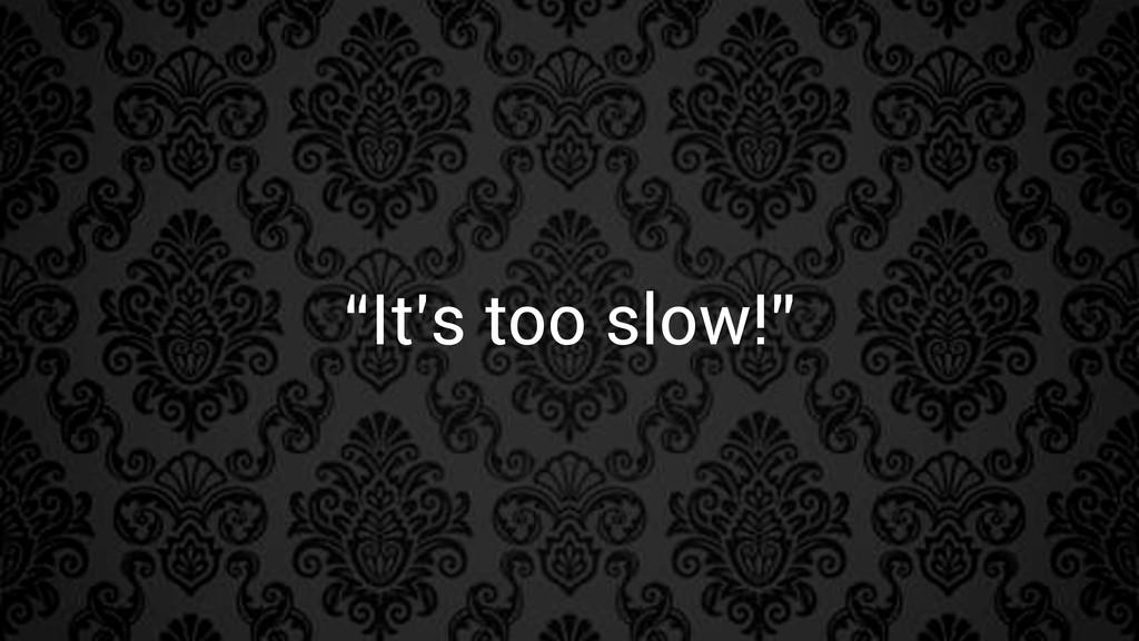 """""""It's too slow!"""""""