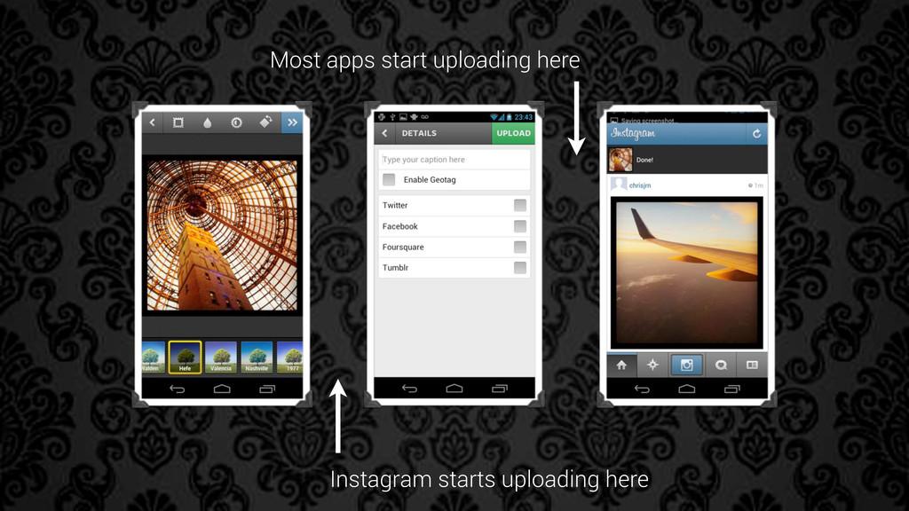 Instagram starts uploading here Most apps start...