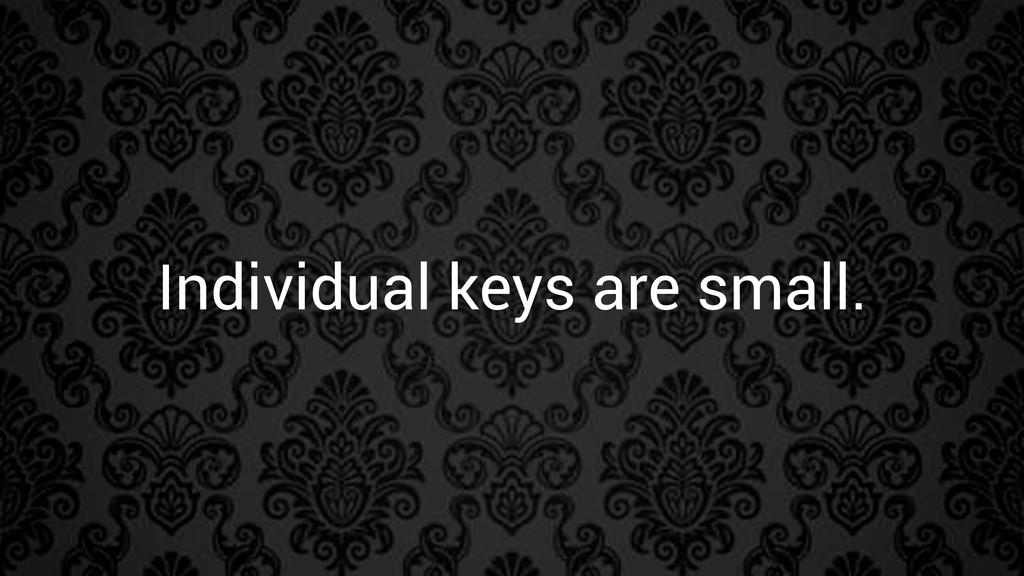 Individual keys are small.